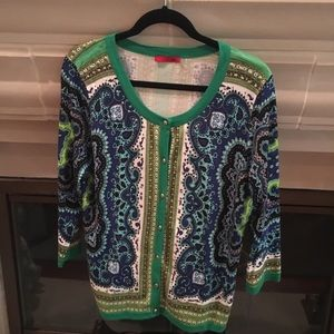 Paisley Green Blue Print Cardigan Sweater by Red